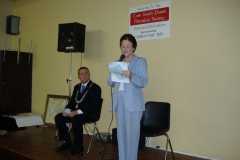 Maureen Holland speaking at the opening of our 2006 Historical Exhibition at the South Parish Community Centre. Alongside her is Ciarán Lynch, Deputy Lord Mayor.