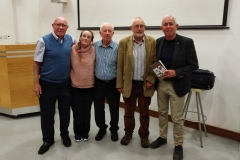 Liam O'hUigín, Mary O'Shea, Gene Healy, guest speaker Kieran Groeger and Red FM's Neil Prendeville at the inaugural meeting of the 2019/2020 season in St John's College.
