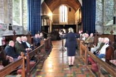 Our wonderful guide Pat Shackleton, giving us some of the history of St Mary's Collegiate Church, Youghal in 2019.