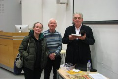 Mary O'Shea, Treasurer, and Gene Healy, Chairperson of South Parish Historical Society with guest speaker Cónal Creedon at our meeting in St John's College on 4 March 2020..