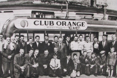 Members of Barrack Street Band about to depart on a day trip to Inchydoney in 1957. Behind the group is the shell of the old Opera House that was destroyed in a fire two years earlier. Image from the Evening Echo.